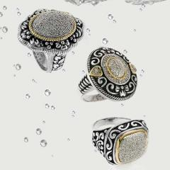 Supunnahong Classic Silver and Gold Diamond Rings