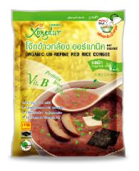 Red rice congee with vegetable