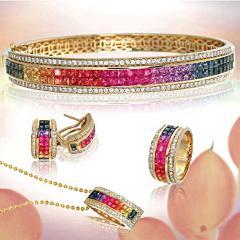 Rainbow Sapphire Jewelry Set