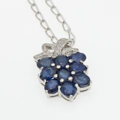 Silver pendant with Blue-Sapphire P0017