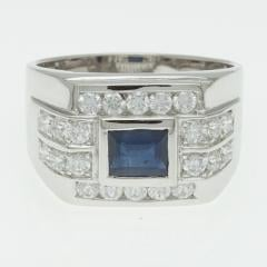 Silver ring with blue sapphire R0250