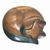 Wood Carvings Sleeping Cat