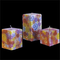 Benjawan Square Pillar Candle – Colorful Swirls