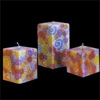 Benjawan Square Pillar Candle – Colorful Swirls