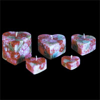 Benjawan Heart Shaped Candle – Red Floral Pattern