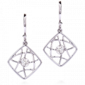 Brocade Single Diamond Square Drop Earrings