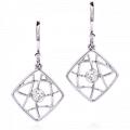 Brocade Single Diamond Square Drop Earrings