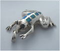 Sterling Silver Frog Pendant with Opal inlaid cutting