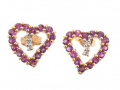 Heart Diamonds & Amethyst 10K Yellow Gold Love Earrings