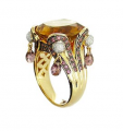 18K Gold Ring set with Yellow Citrine, Rhodolite and Diamond