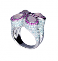 18K White Gold Ring set with Rose Quartz, Pink Sapphire, Blue Topaz and Buick Topaz