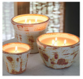 Filled Candle In Hand Washed Terracotta