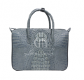 Crocodile handbag with zippers closure