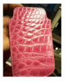 Сrocodile leather phone cover in pink