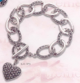 Silver heart bangle