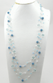 3 Strands Knit Necklace with Blue Quartz