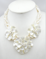 MOP Triple flower Necklace with white freshwater pearl