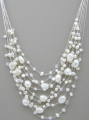 Multi Strands White Pearl Necklace
