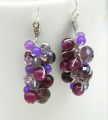 Purple Earring with Jade and Crystal