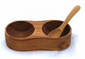 Teak Twin condiment dish with spoon