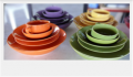 Colorful dishes and cups